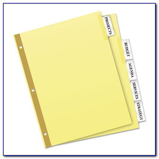 Avery Inserts For Dividers 5 Tab Template