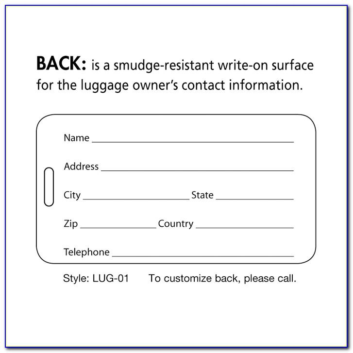 Avery Luggage Tag Template