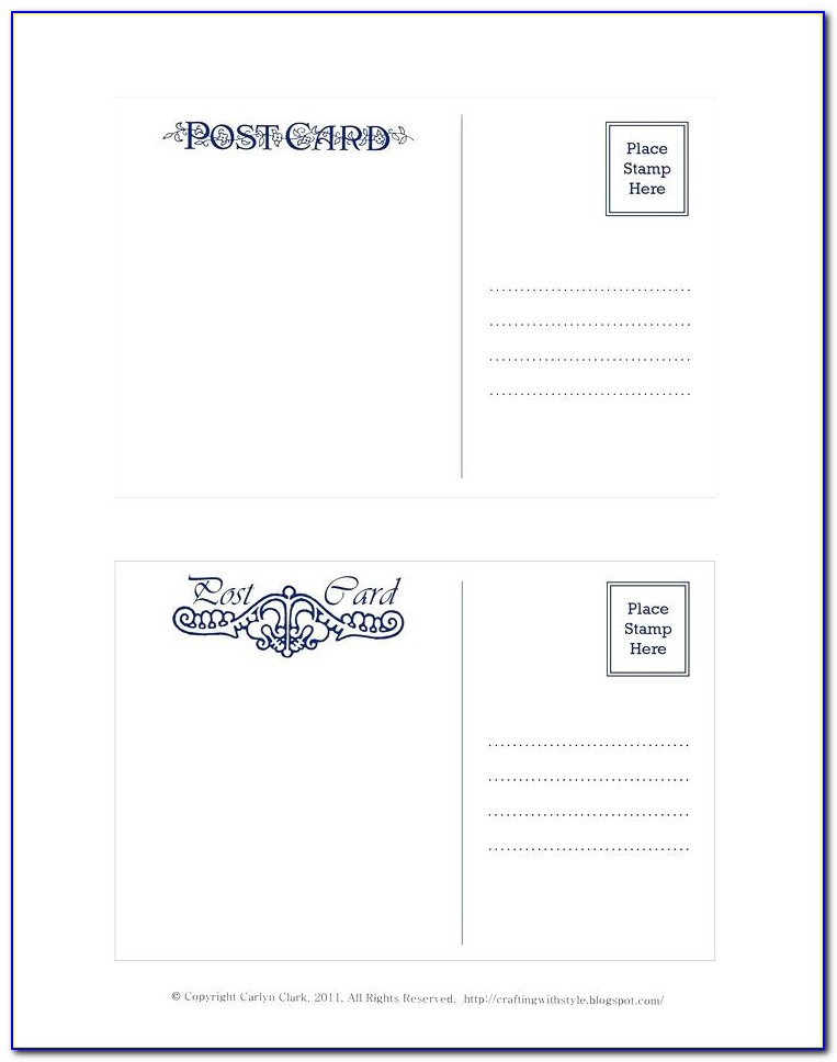 Avery Postcard Template 4 Per Page