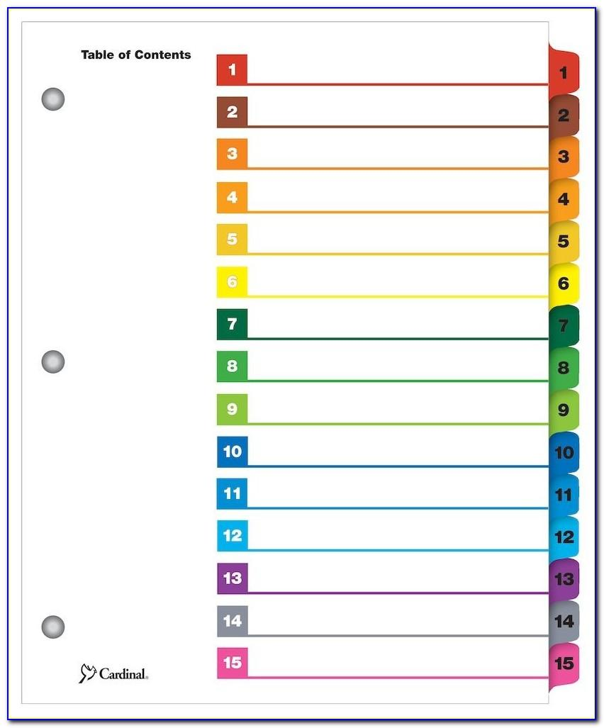 Avery Ready Index Template 8 Tab