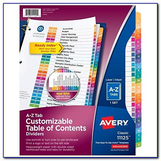 Avery Ready Index Template A Z