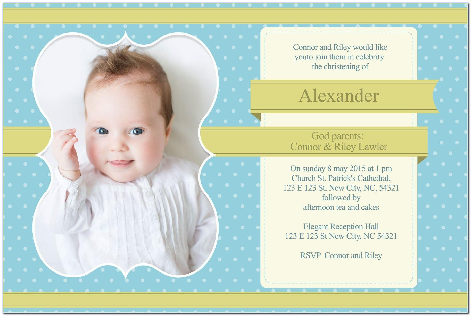 Baby Dedication Invitation Card Template