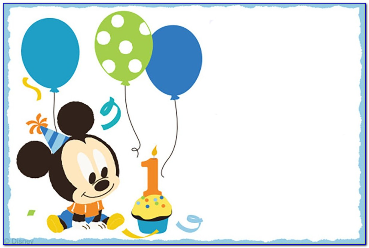 Baby Mickey Mouse 1st Birthday Invitations Template