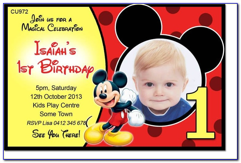 Baby Mickey Mouse Invitation Template Free