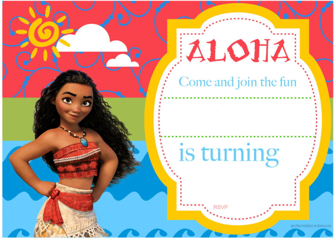Baby Moana Birthday Invitation Template