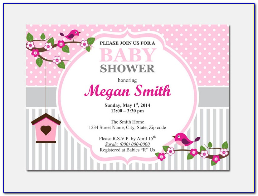 Baby Shower Invitation Card Word Template