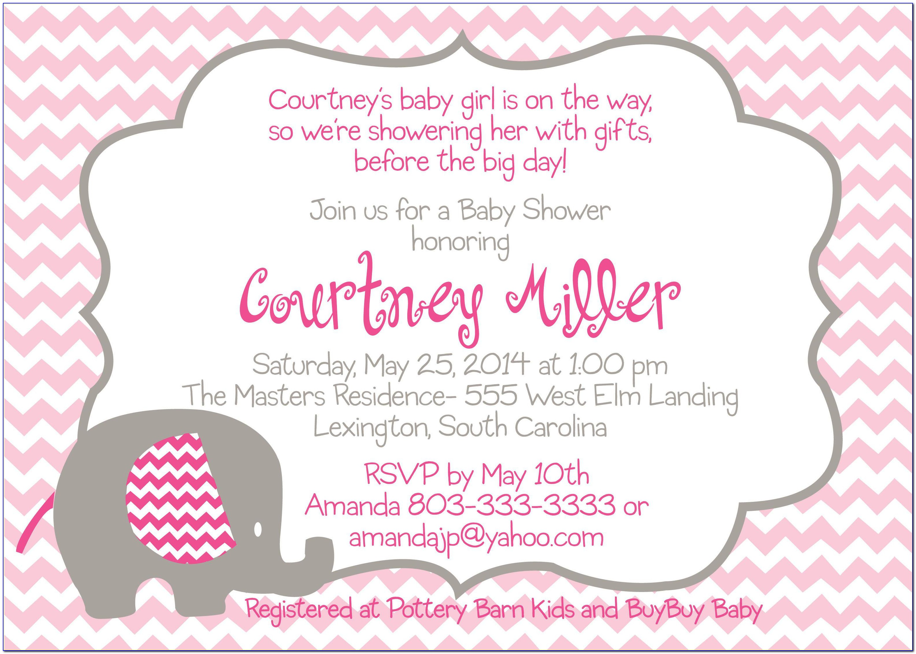 Baby Shower Invitation Templates For Girl