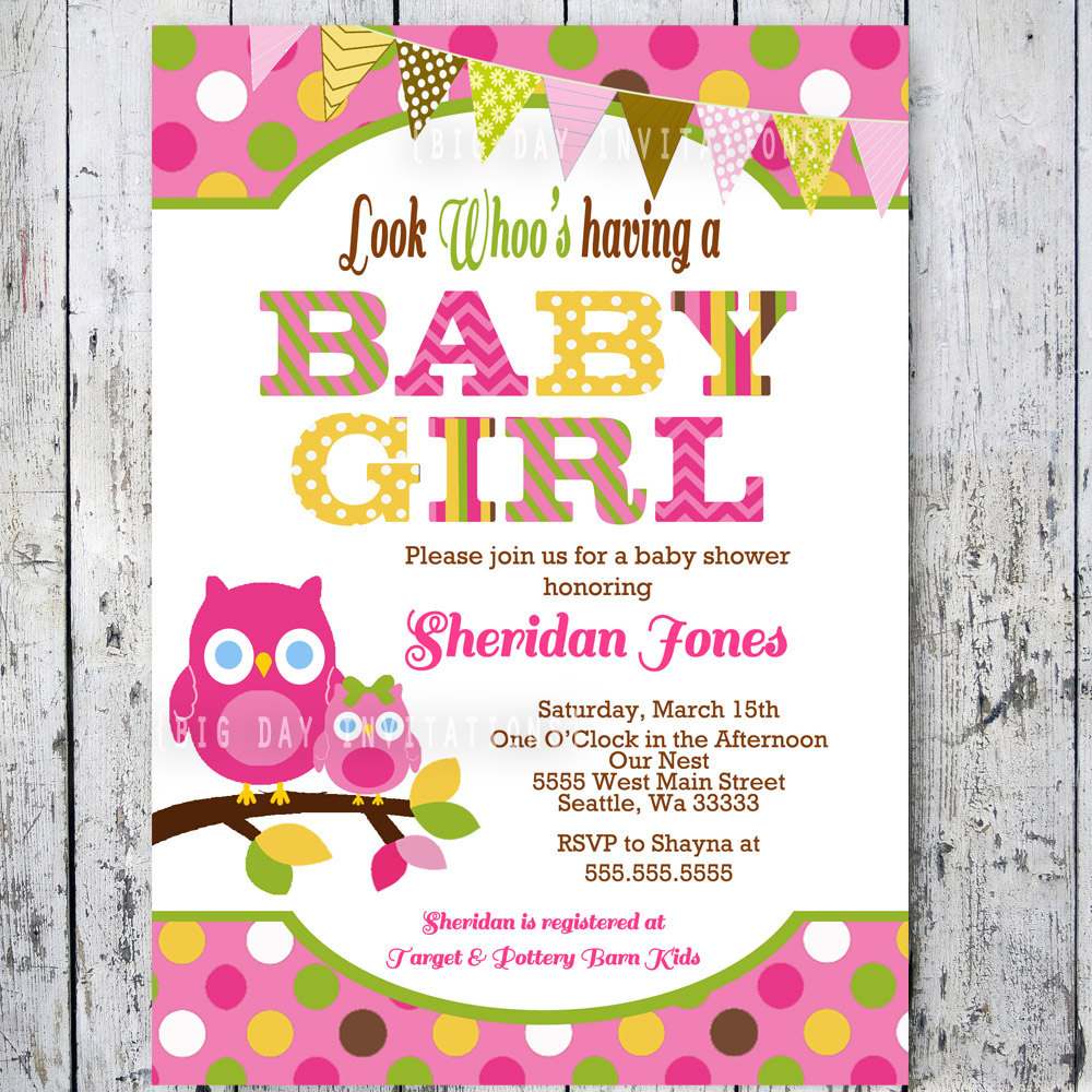 Baby Shower Invitations Girl Elegant