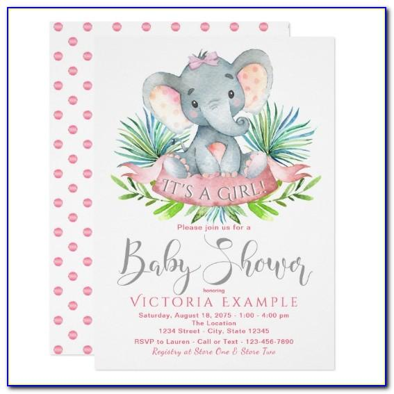 Baby Shower Invitations Girl Elephant