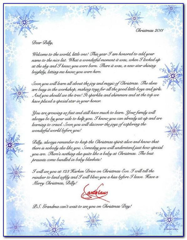 Babys First Christmas Letter From Santa Template
