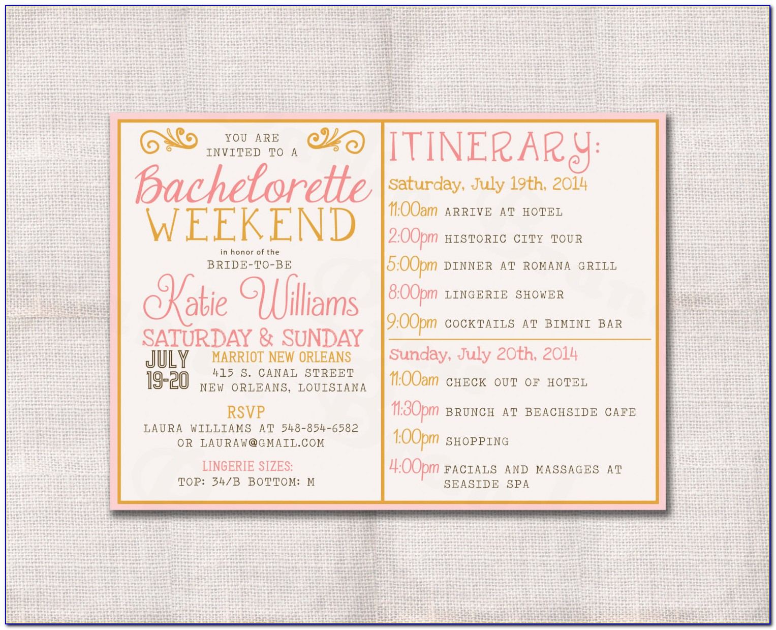 Bachelorette Party Itinerary Template Free Download