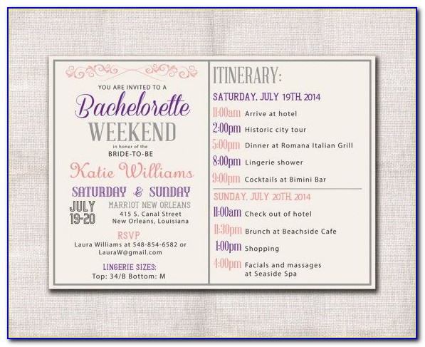 Bachelorette Party Weekend Itinerary Template