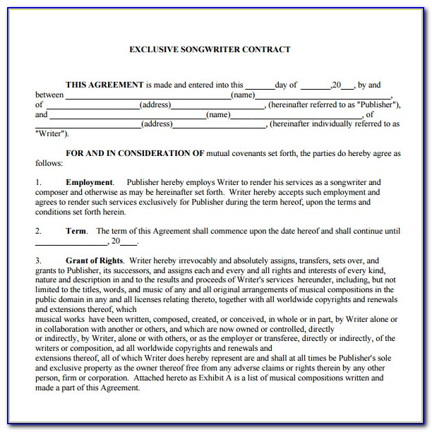Band Contract Template Pdf