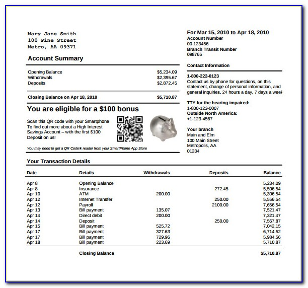 Bank Statement Template Word