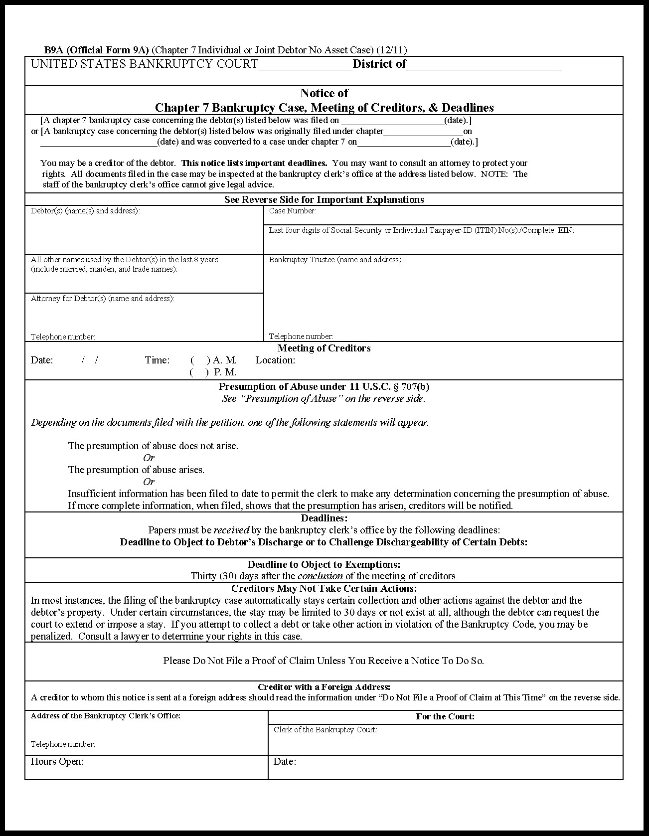 Bankruptcy Petition Form 6.7