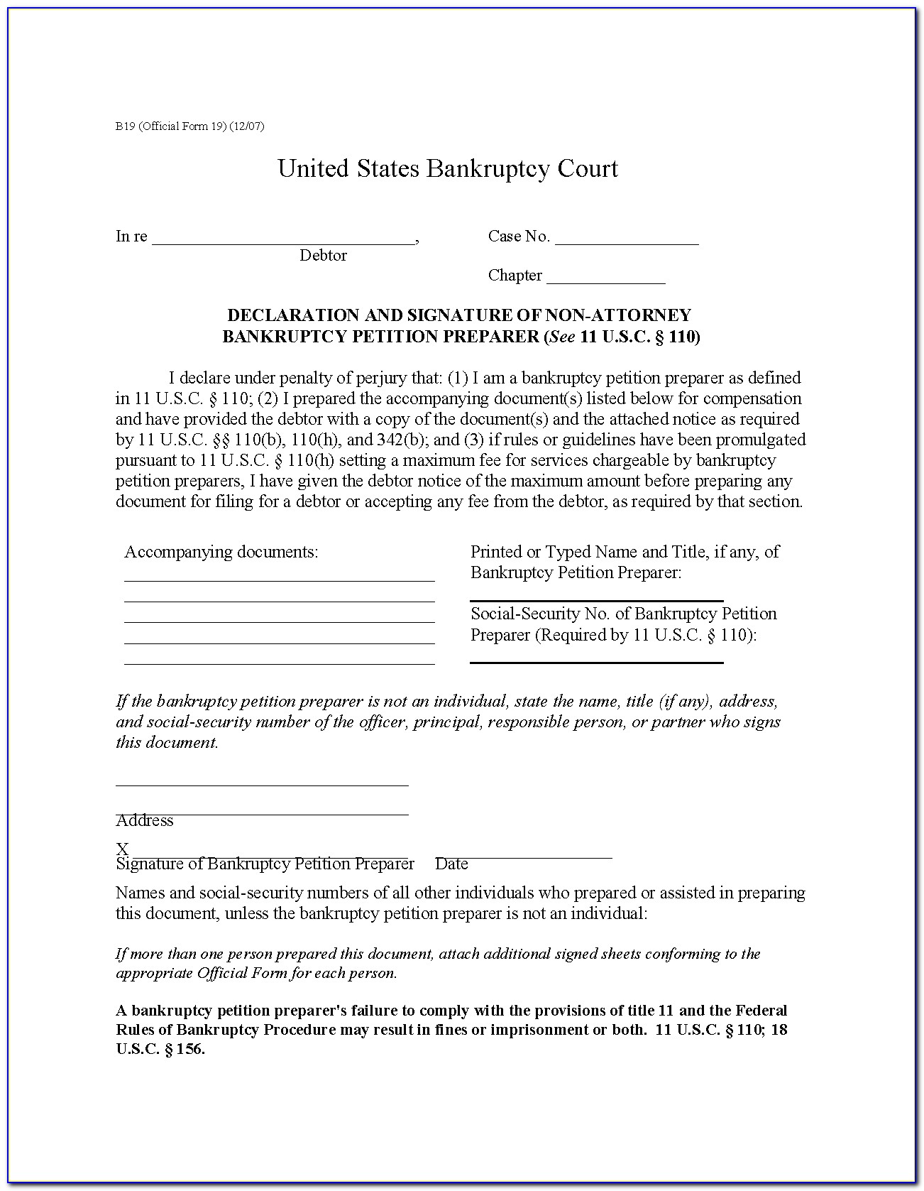 Bankruptcy Petition Forms