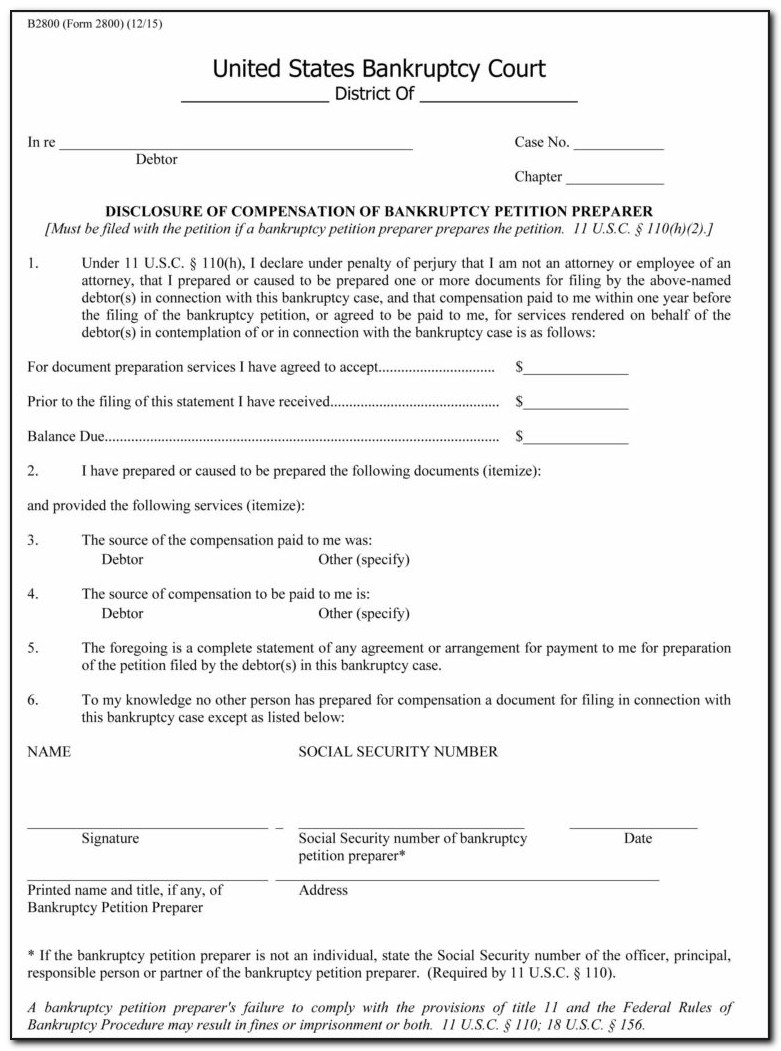 Bankruptcy Petition Preparer Forms