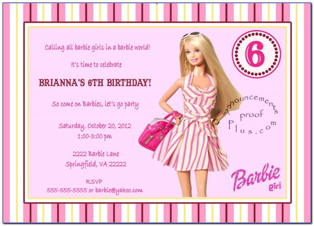 Barbie Birthday Invitation Template Free
