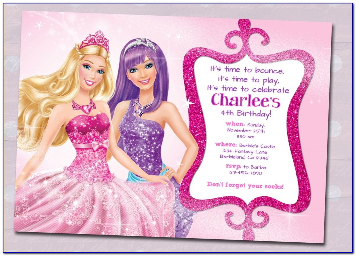Barbie Birthday Invitations Templates Free