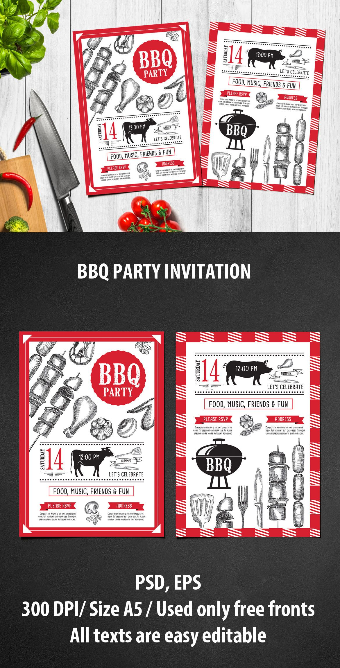 Bbq Invite Template Psd