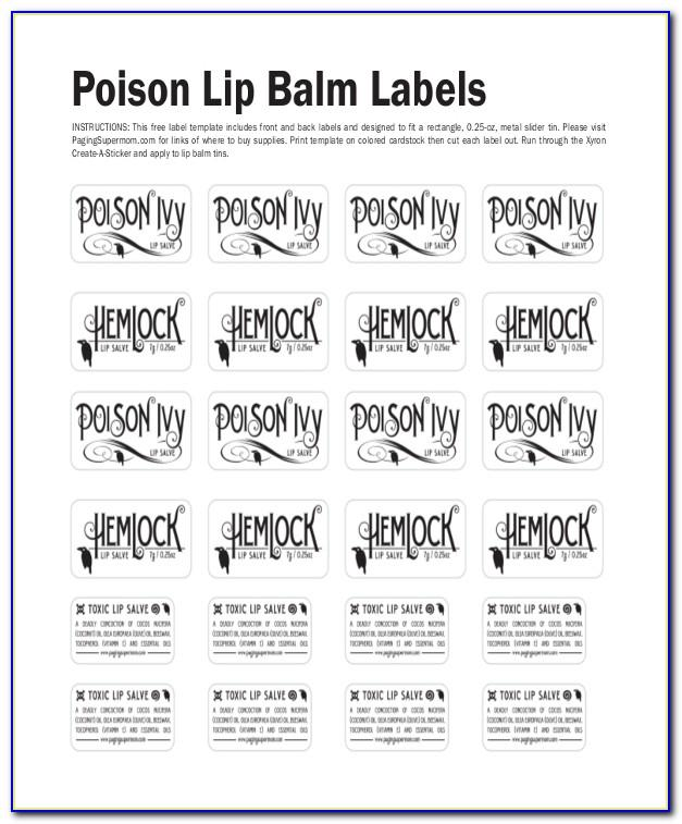 Belladonna Lip Balm Labels Template