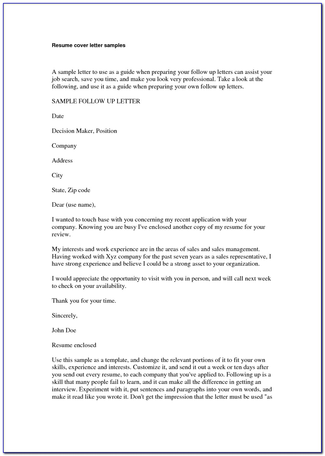 Sample Resume And Cover Letter Vincegray2014
