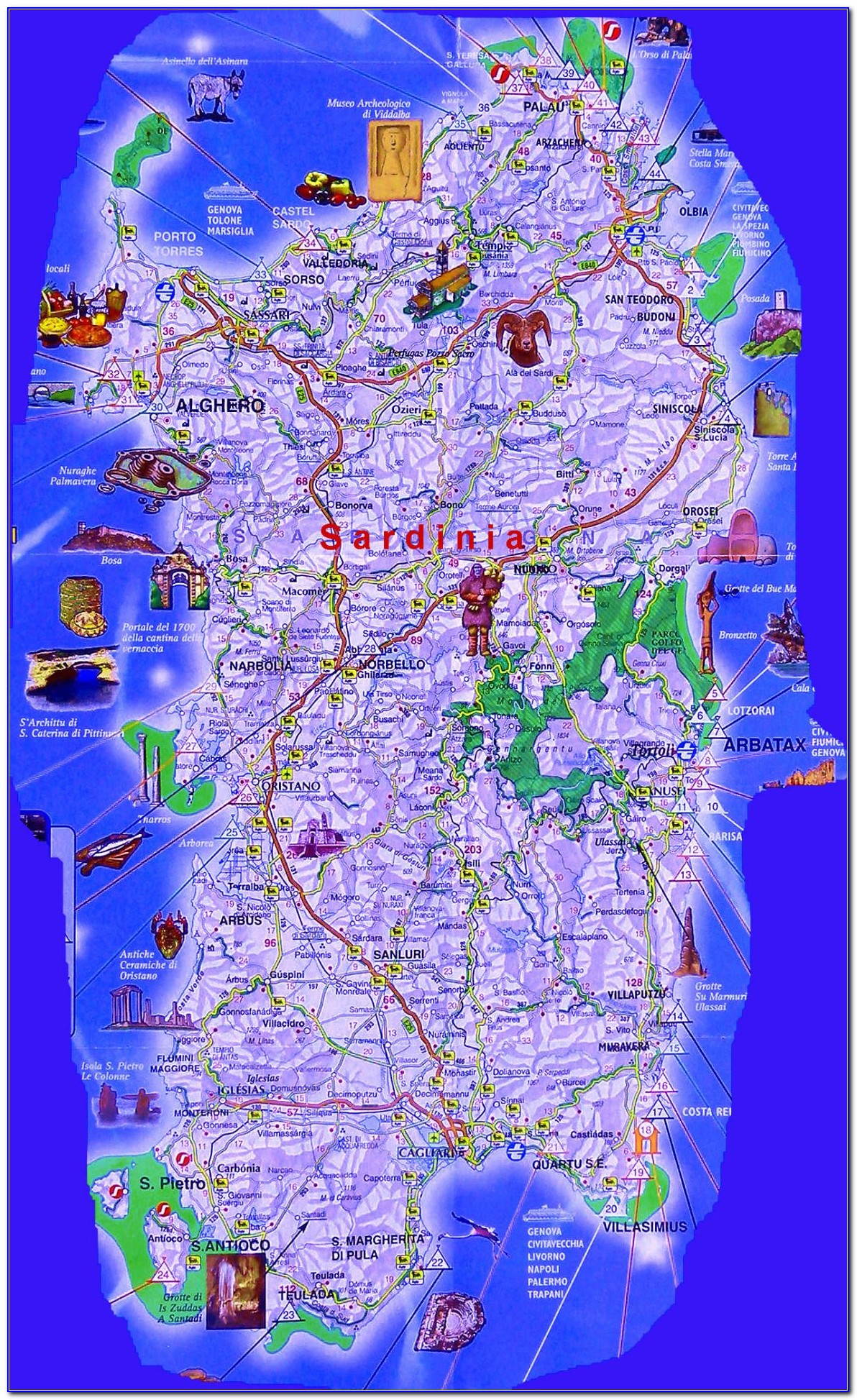 Best Road Map Of Sardinia