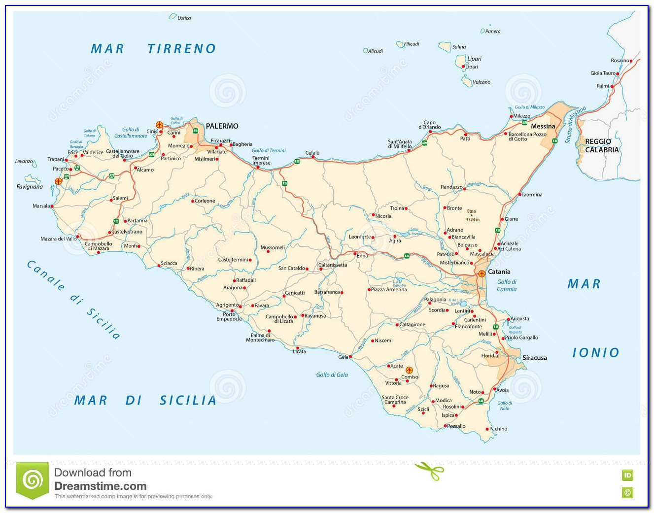 Best Road Map Of Sicily