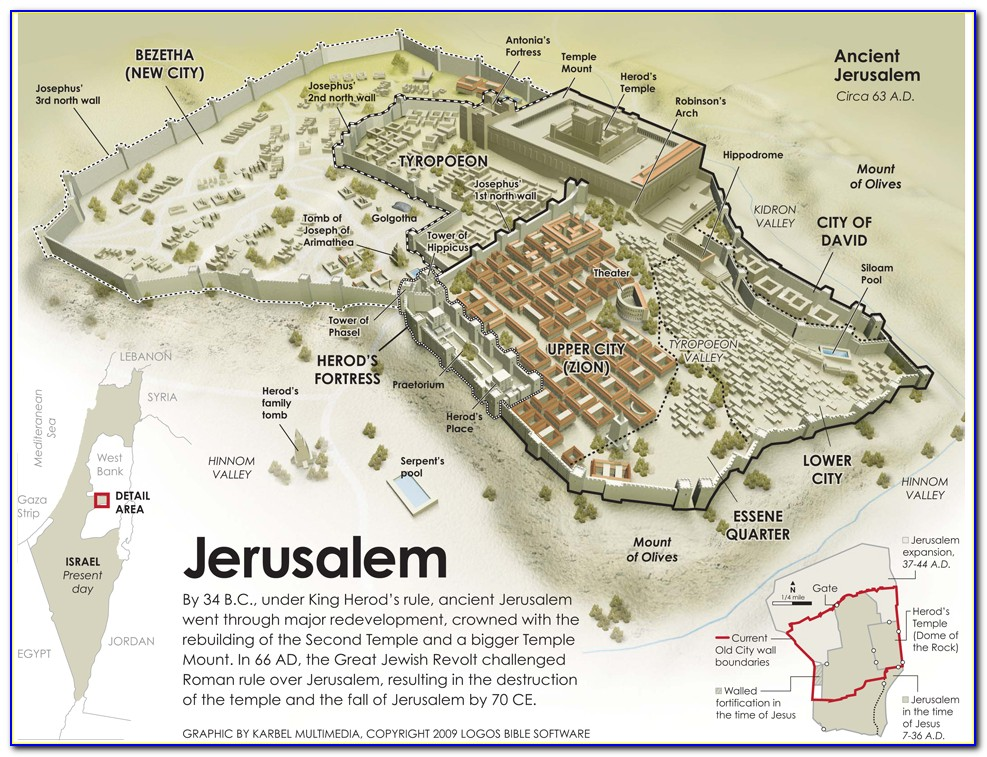 Bible Map Jerusalem Gaza