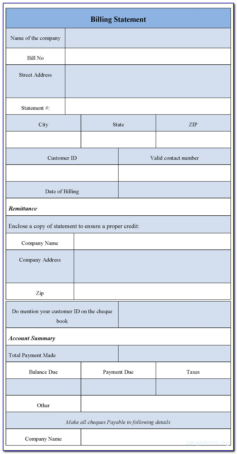 Billing Statement Forms Free Download