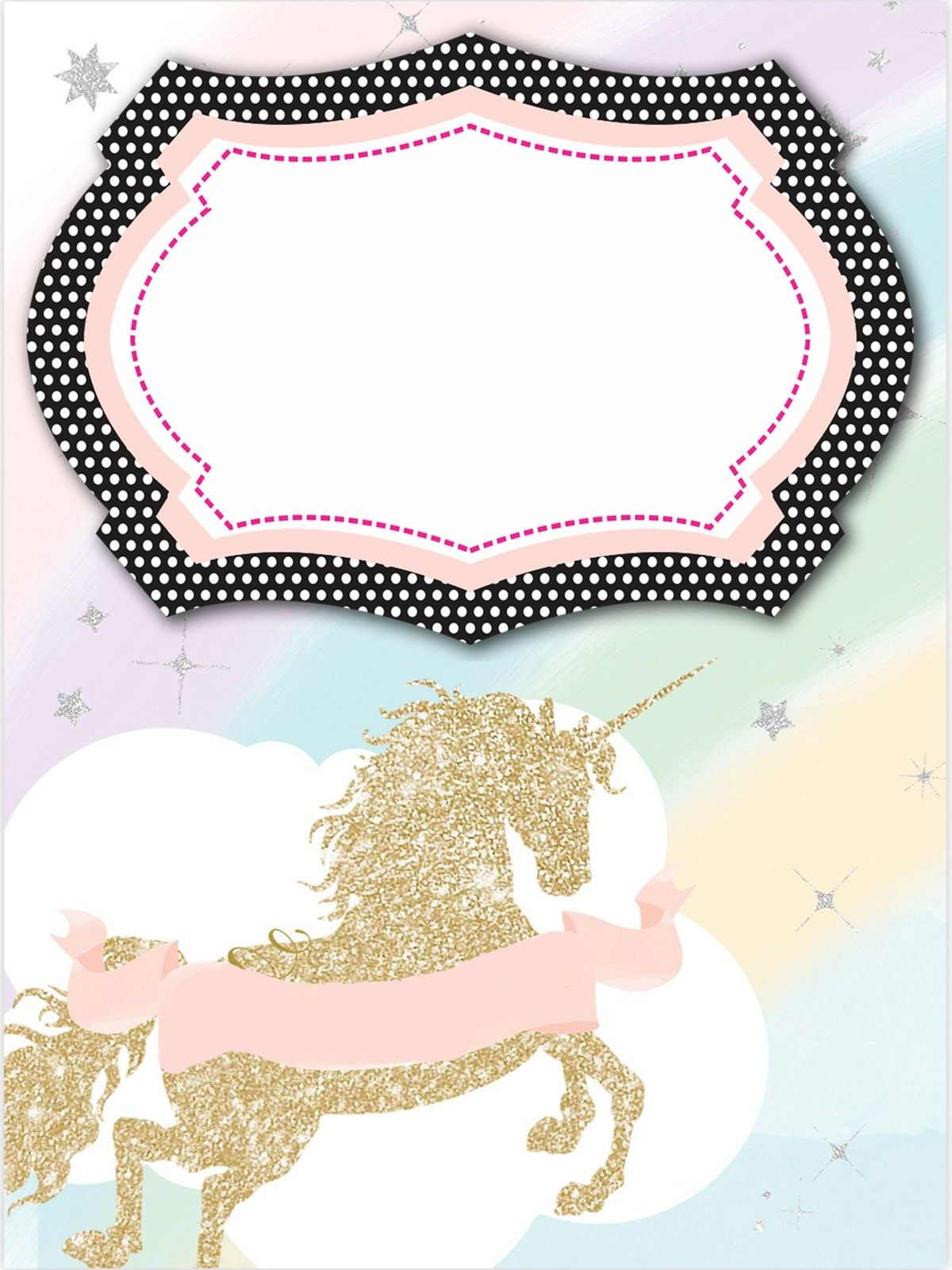Birthday Invitation Card Template Unicorn