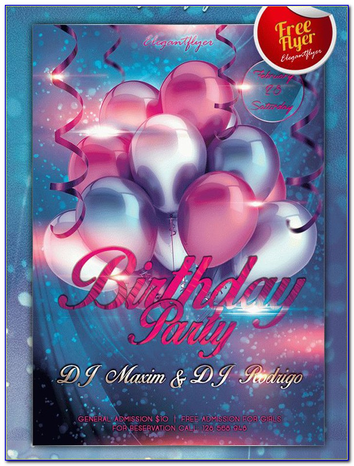 Birthday Party Flyer Templates Free Psd