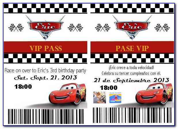 Birthday Party Invitation Template Cars