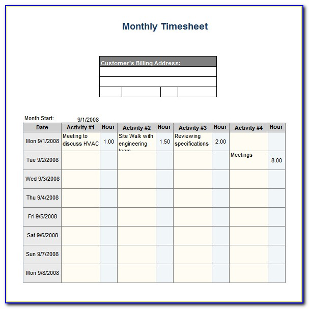 Biweekly Timesheet Template Excel Free Download