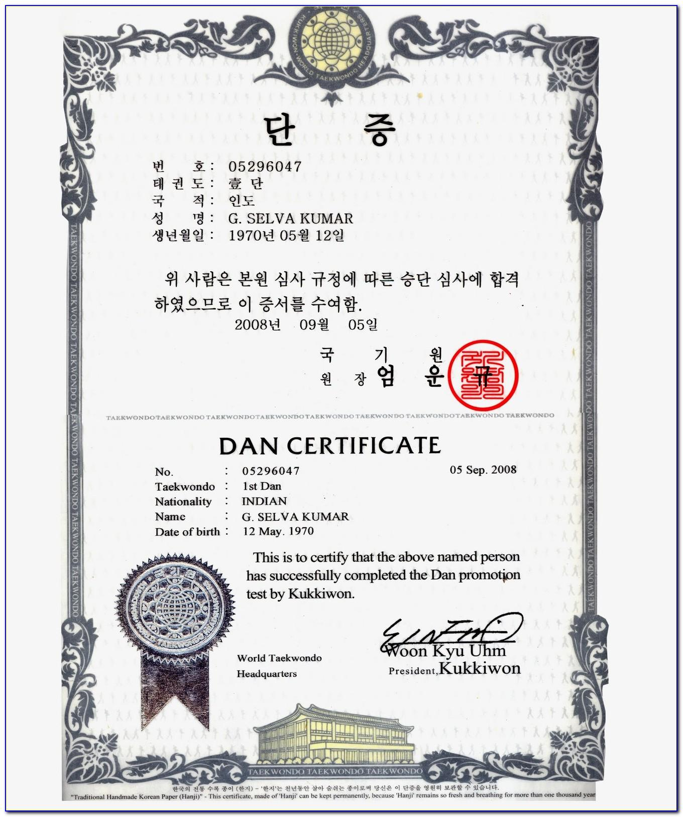 Black Belt Certificate Template Free