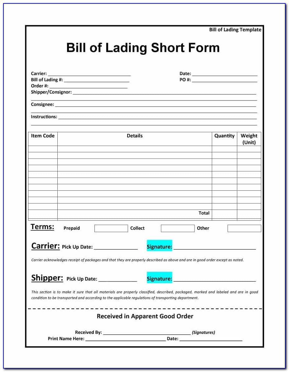 Blank Bill Of Lading Form Template