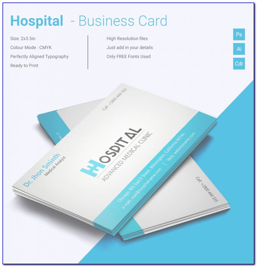 Word Template For Business Cards Unique Simple Hospital Business Card Template   Free & Premium Templates