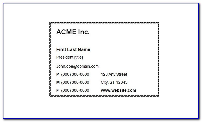 Blank Business Card Template Word