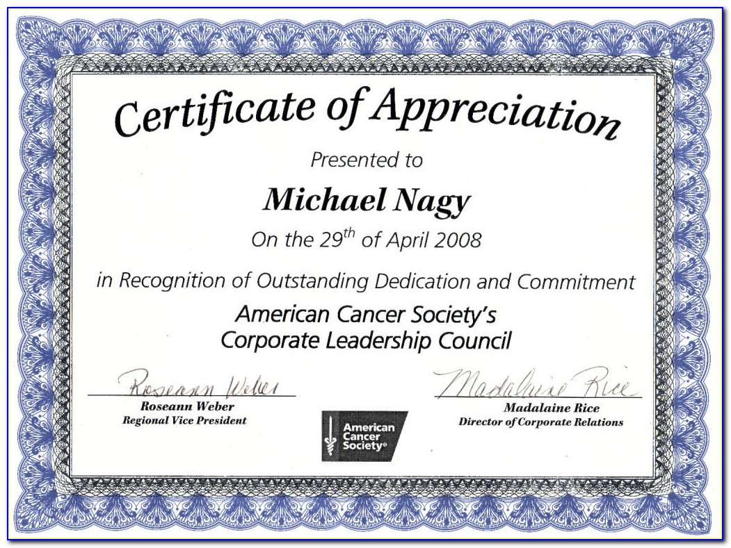 Free Editable Certificate Of Appreciation Templates