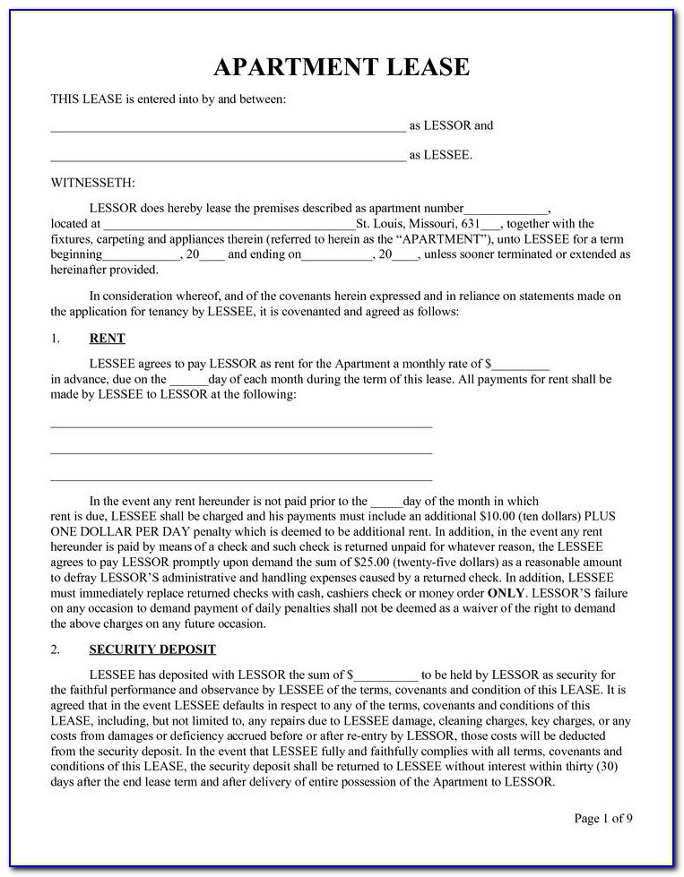 Blank Chicago Apartment Lease Form