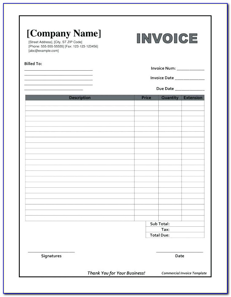 Blank Commercial Invoice Form Pdf