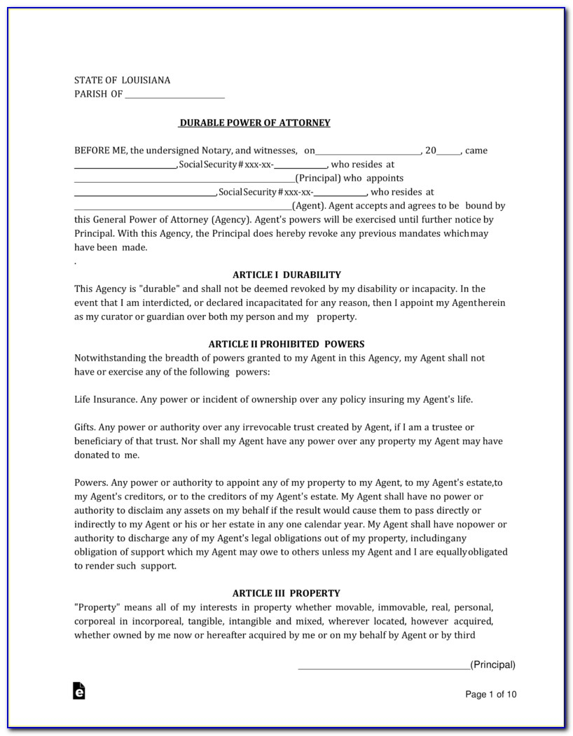 Blank Durable Power Of Attorney Form Ohio