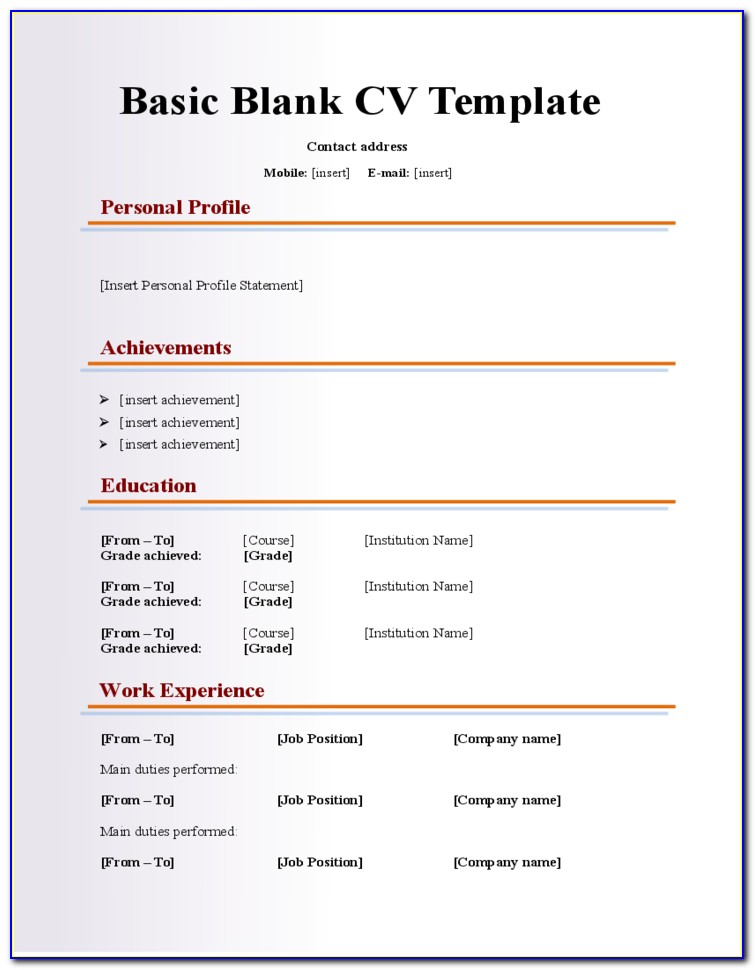 Blank Fill In Resume Templates