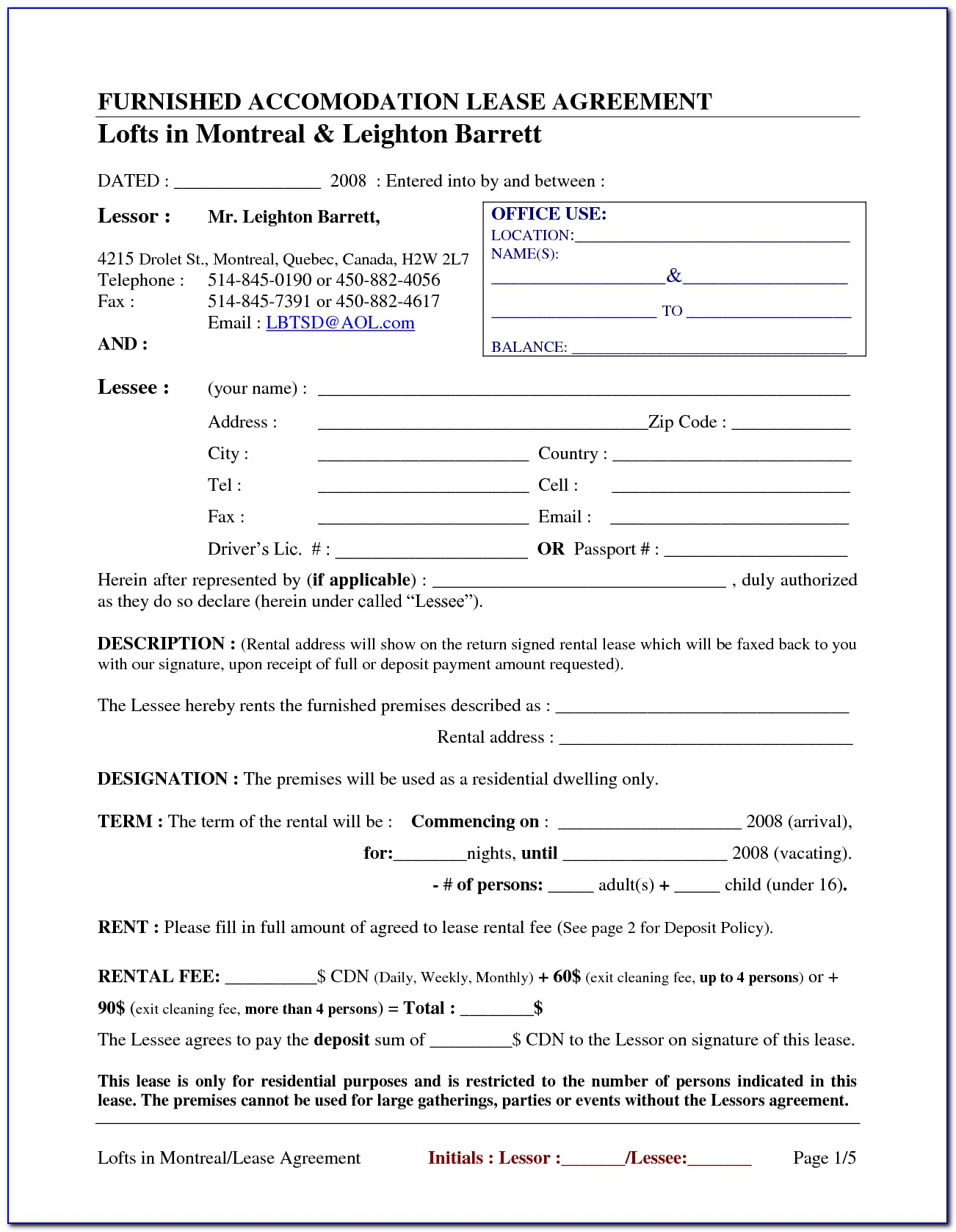 Blank Florida Lease Agreement Form