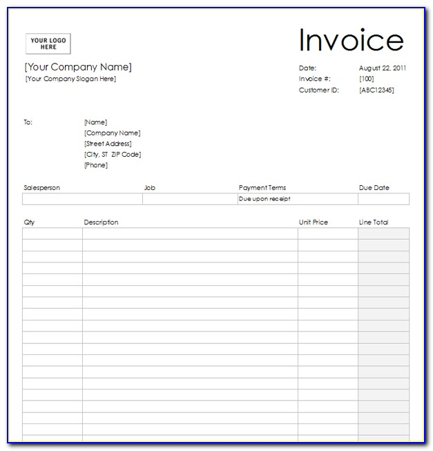 Blank Invoice Forms To Print