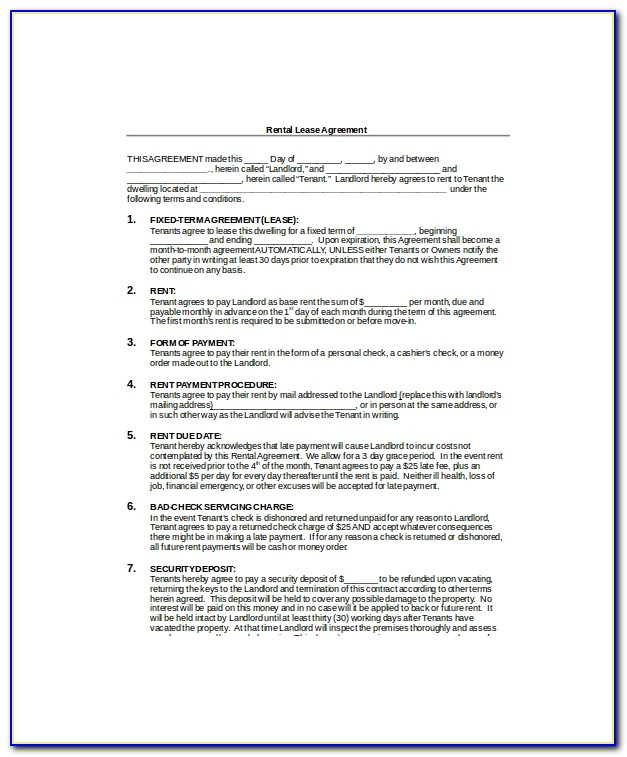 Blank Lease Template