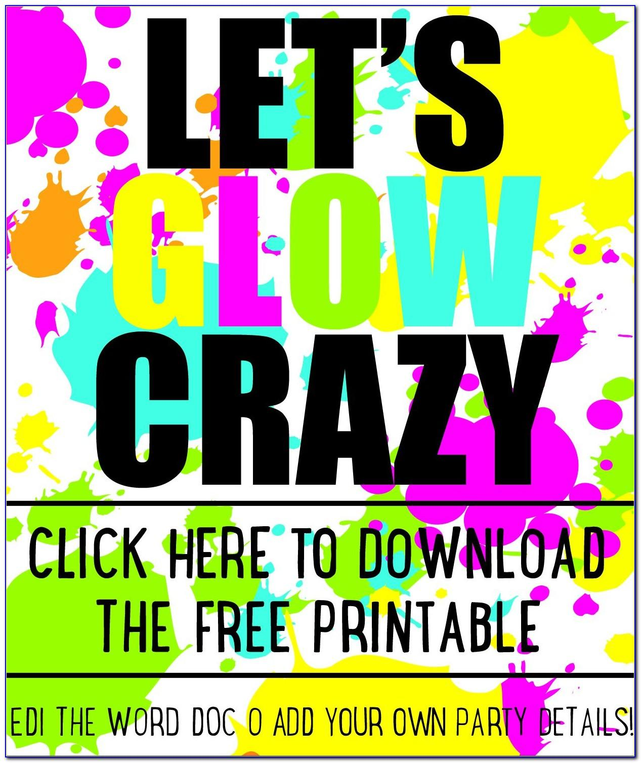 Blank Neon Party Invitations Templates Free