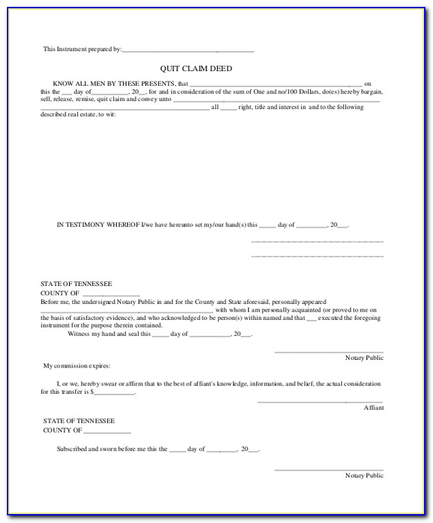 Blank Quit Claim Deed Form Tennessee
