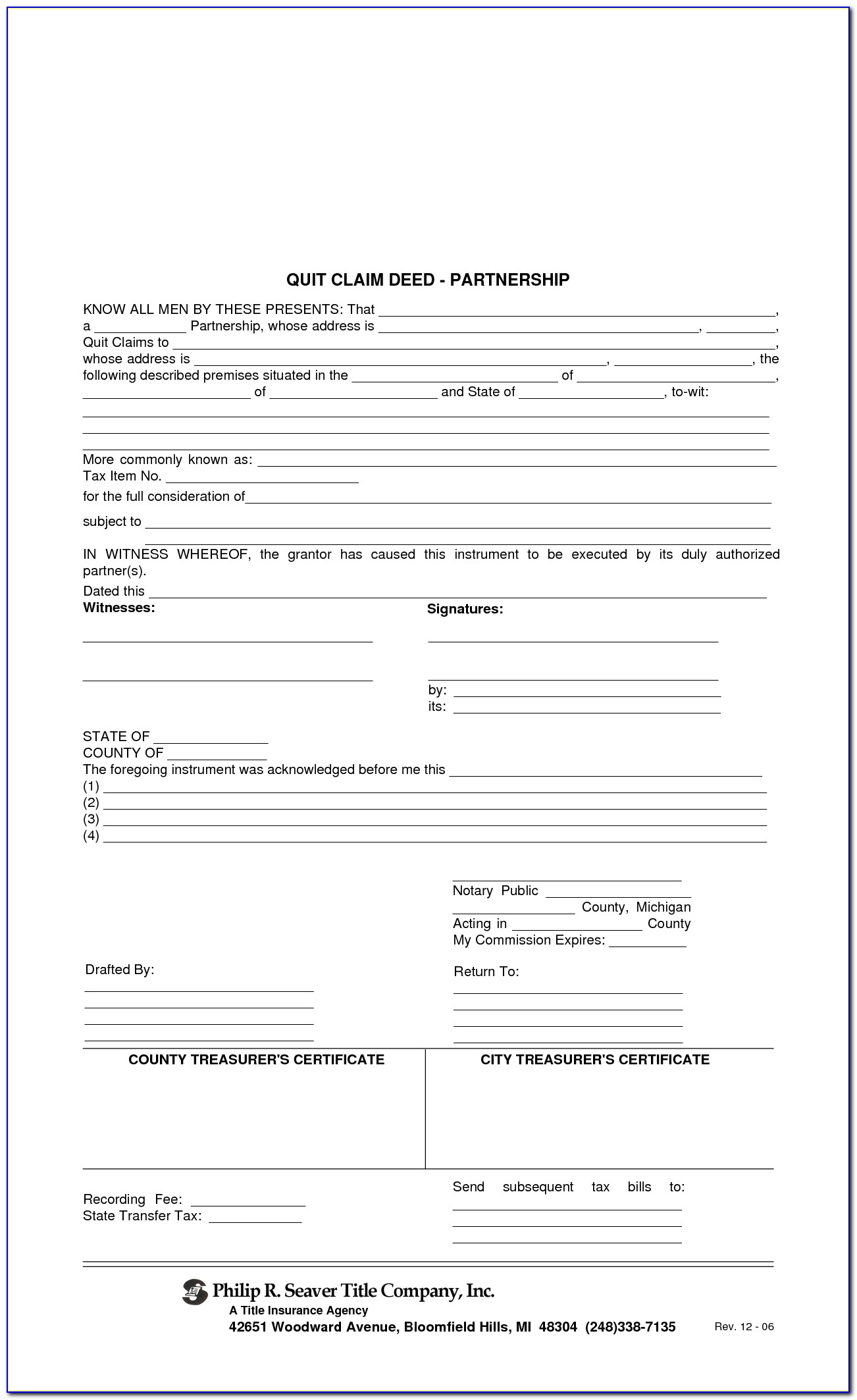 Blank Quit Claim Deed Form Wayne County Michigan