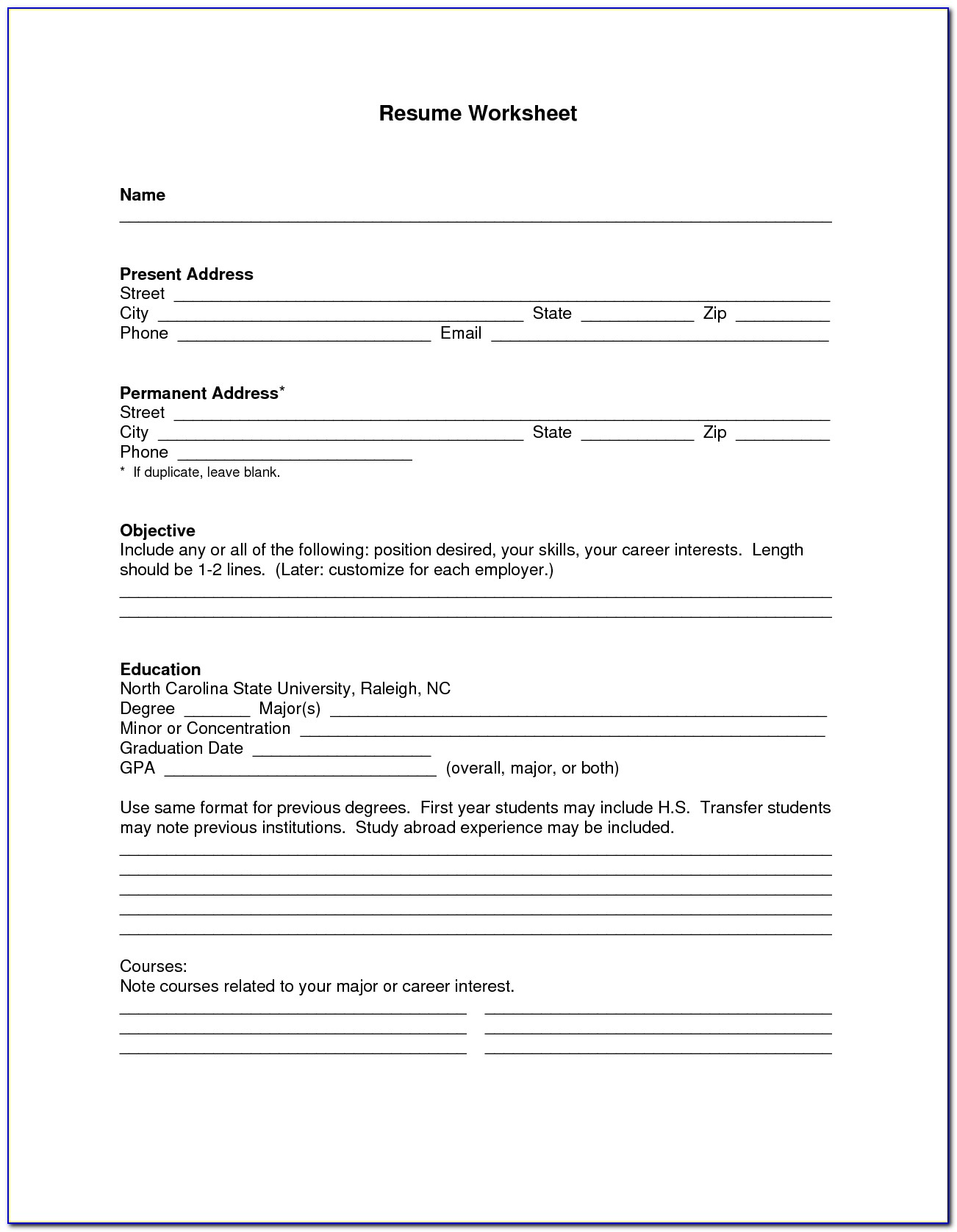 Blank Resume Form Pdf Vincegray2014